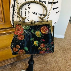Handbags - Vintage Satin beaded with antique brass handle